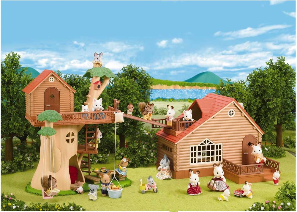 Calico Critters Adventure Treehouse With Log Cabin